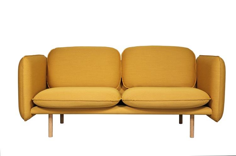 Linde sofa gul sett forfra